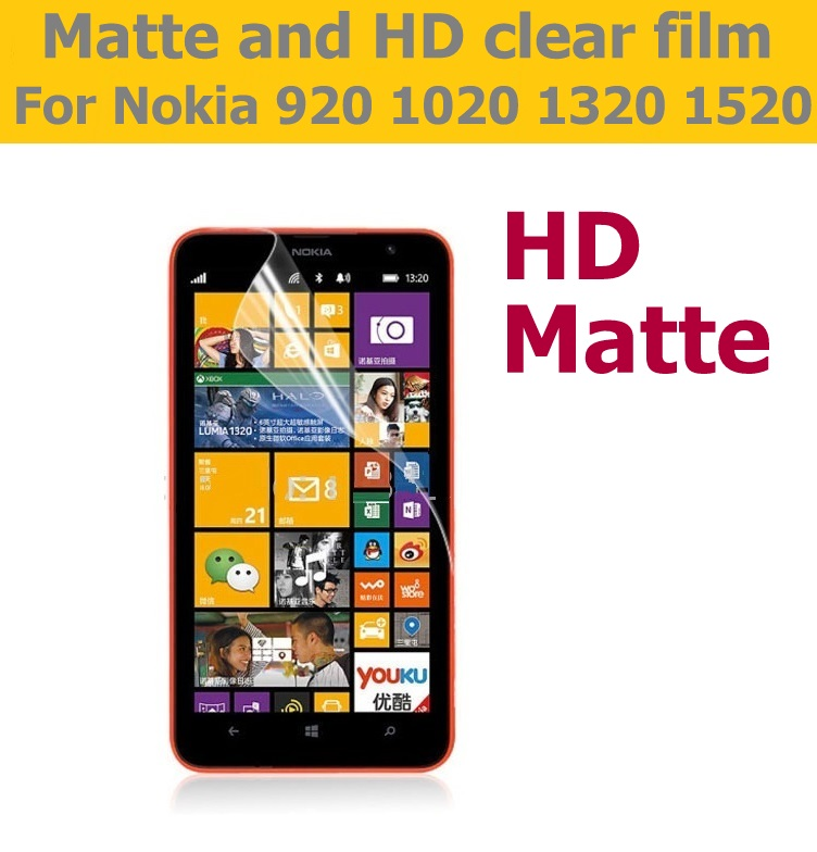 LCD HD Clear Glossy Film For Microsoft lumia 920 1020 Anti-Glare Matte Film For Nokia 1320 1520 Front Screen Protector Film
