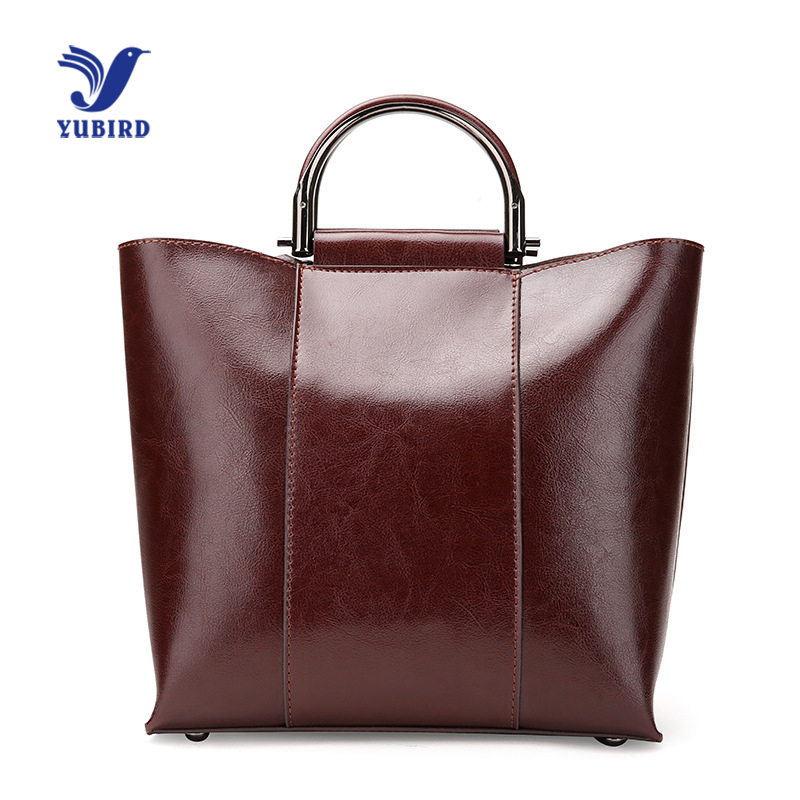 YUBIRD Luxury Women Vintage Big Handbag Large Tote Bag Short Metal Handle Wax Oil Real Leather Big Handbag bolsos de mano mujer metal handle winged tote bag