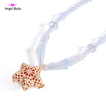 Crystal Necklace with Star Design Aromatherapy Pendant Essential Oil Locket with Fragrance Ball Perfume Cage Jewelry  L153
