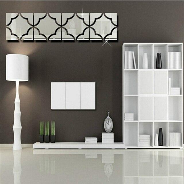 3d diy autocollants murale miroir stikers pour décoration murale salon espelhos de parede decorativo mandala pochoirs