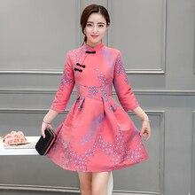 2016 الشتاء الكتان شيونغسام السيدات تشيباو اللباس رخيصة الصينية شيونغسام اللباس الكتان اللباس الصينية هدية النمط الصيني