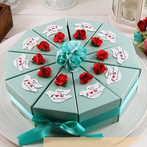 Dia 22cm Green Cake Design Diy Wedding Candy Boxes For Sale Paper