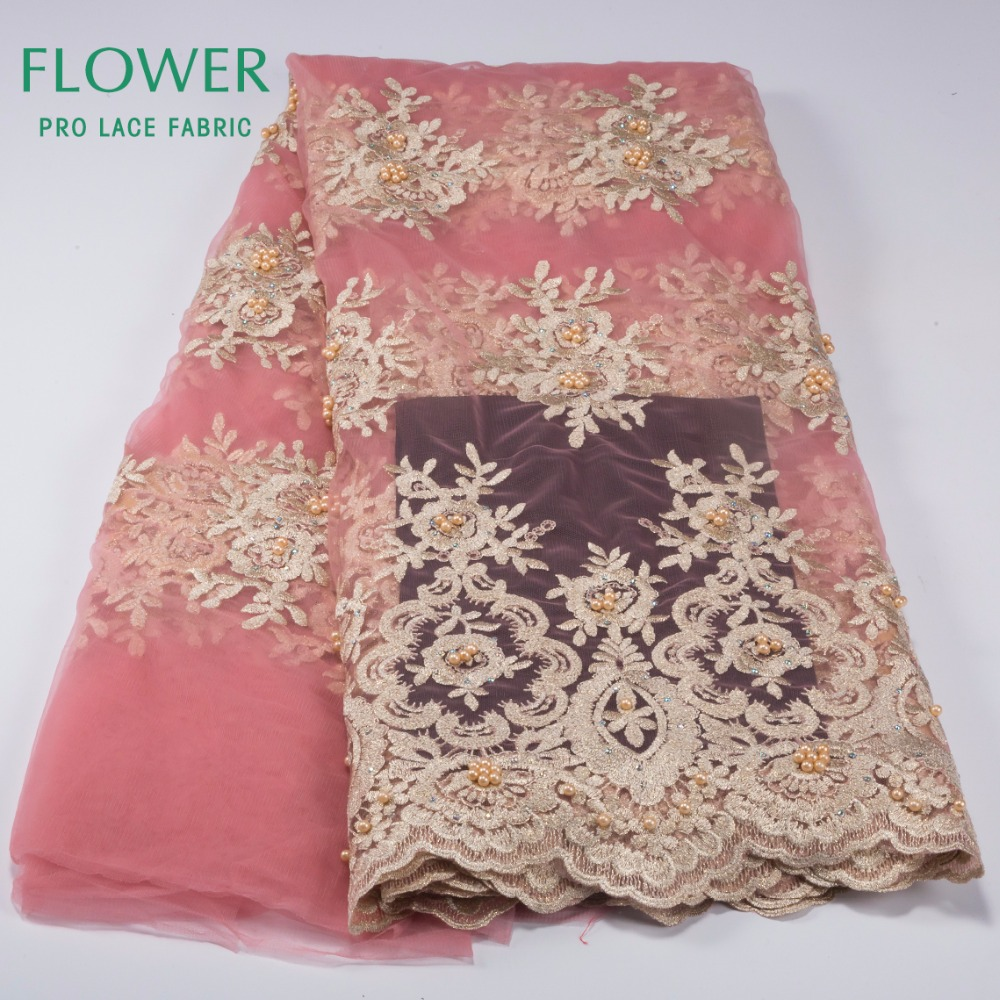 Beaded New Nigeria Tulle Lace French Guipure Mesh Lace Fabric African Swiss Voile 2017 Beaded Stones