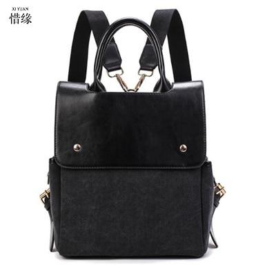 fashion Vintage Women Leather Backpacks luxury Casual Ladies College Students School Bags Female Shoulder Women black Back Pack