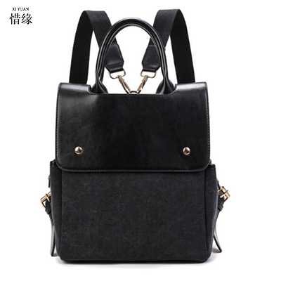 fashion Vintage Women Leather Backpacks luxury Casual Ladies College Students School Bags Female Shoulder Women black Back Pack