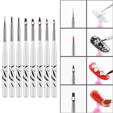 8 Styles Nail Brush Set With Different Head White Handle Drawing Pen Professional Art Tool LCR