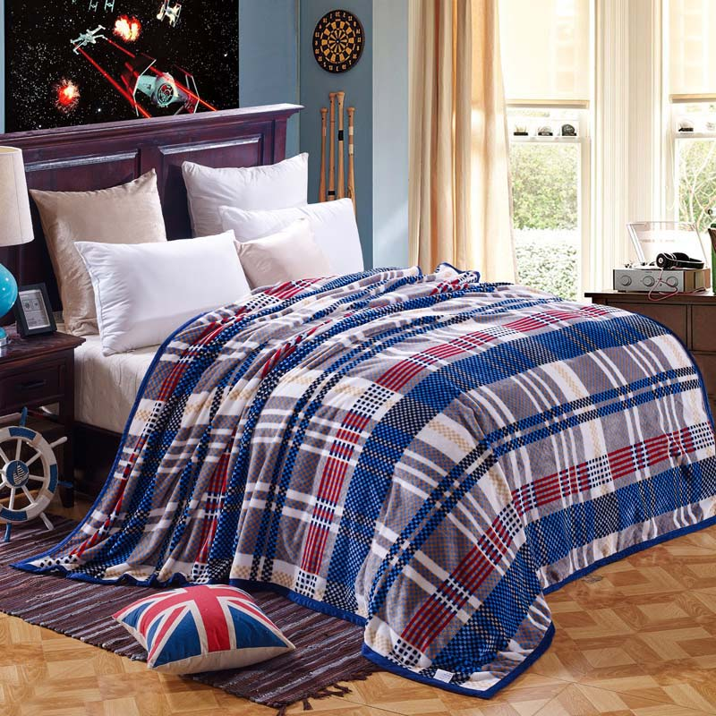 Comfort Feeling Super Warm The Winter Brown Plaid Blanket 100 Cloud Mink Cashmere Bed Sheets 2x2 3m Fashion