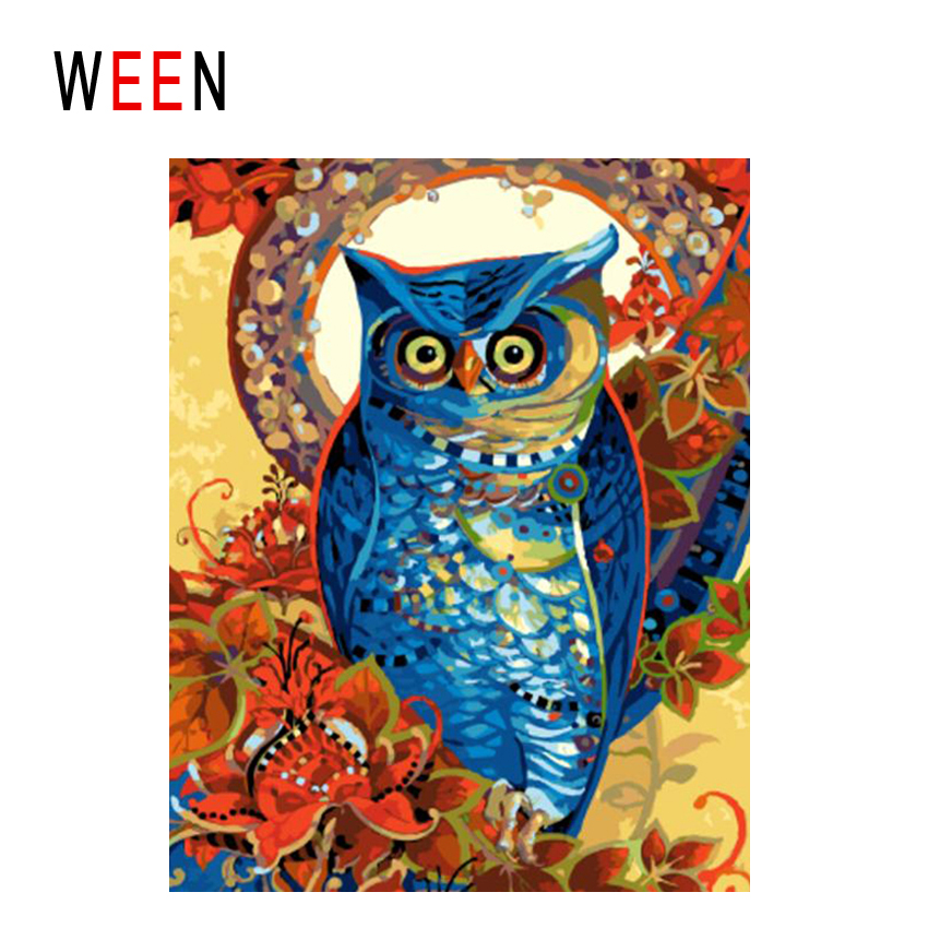 WEEN Flower Owl Diy Painting By Numbers Abstract Bird Oil On Canvas Cuadros Decoracion Acrylic Wall Art Home Decor 2018