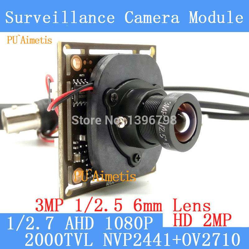 PU`Aimetis AHD 2MP CCTV OV2710 Camera Module 1920*1080 AHD 1080P Low Illumination 0.001lux 2000TVL 3MP 6mm Lens OSD/BNC Cable ahd 2 0megapixel cctv camera module pcb low illumination 0 001lux osd cable dc12v cvbs 2000tvl 3d noise reduction