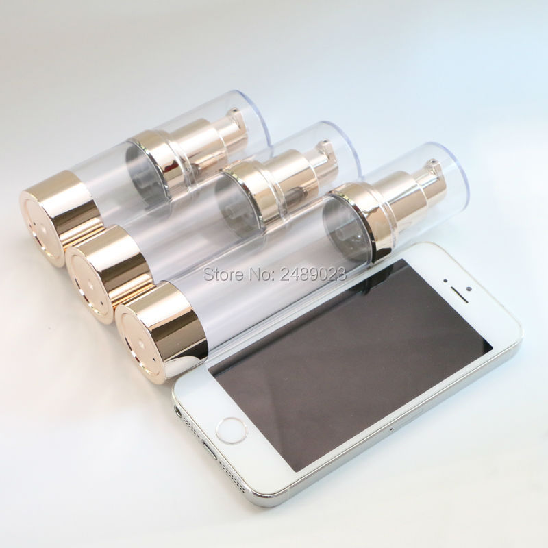 Transparent Cap Pale Gold Airless Bottle  Pump Lotion Refillable Packing Bottles  Cosmetic Container 1pcs Makeup Tools