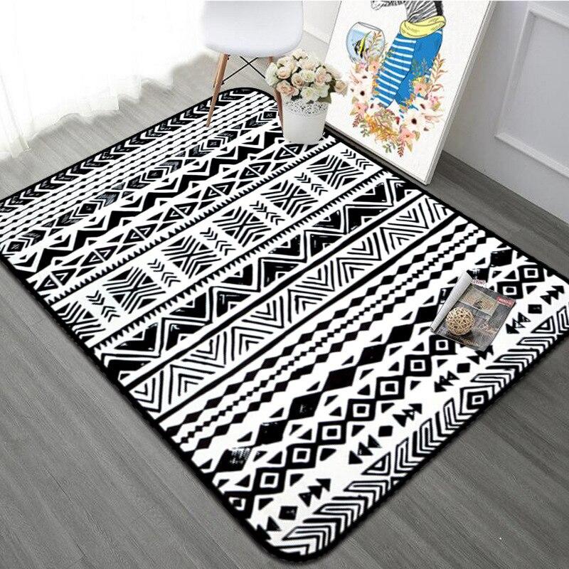 Nordique Kilim noir blanc rayé doux tapis et tapis salon tapis géométrique grand tapis chambre chevet enfants jouer tapis
