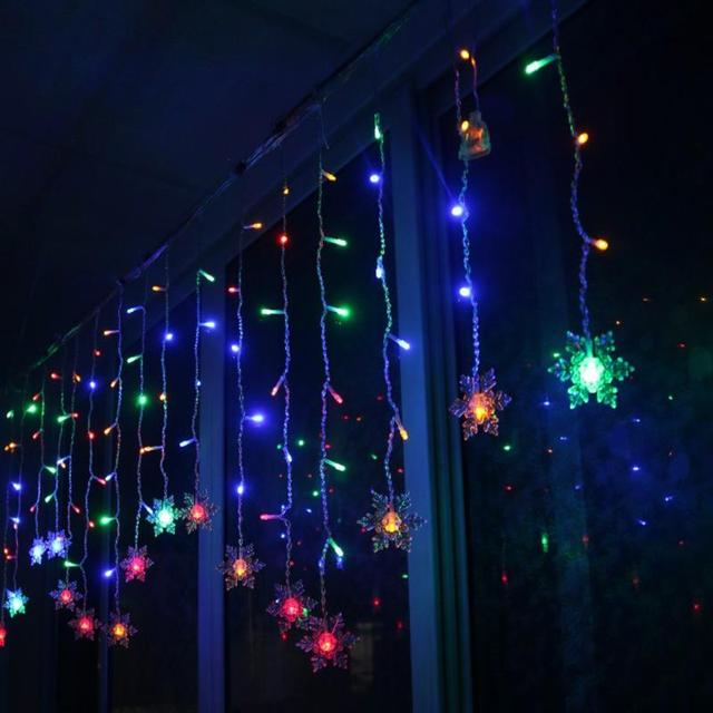 2m christmas lights indoor star 220v led fairy lights 35m 96led curtain icicle led string