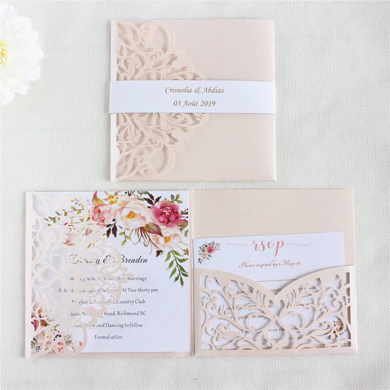 Us 39 0 Elegant Invitation Card Wedding Marriage Soft Pink Pearl Paper Pocket Fold Customized Printing 50pcs In Cards Invitations From Home