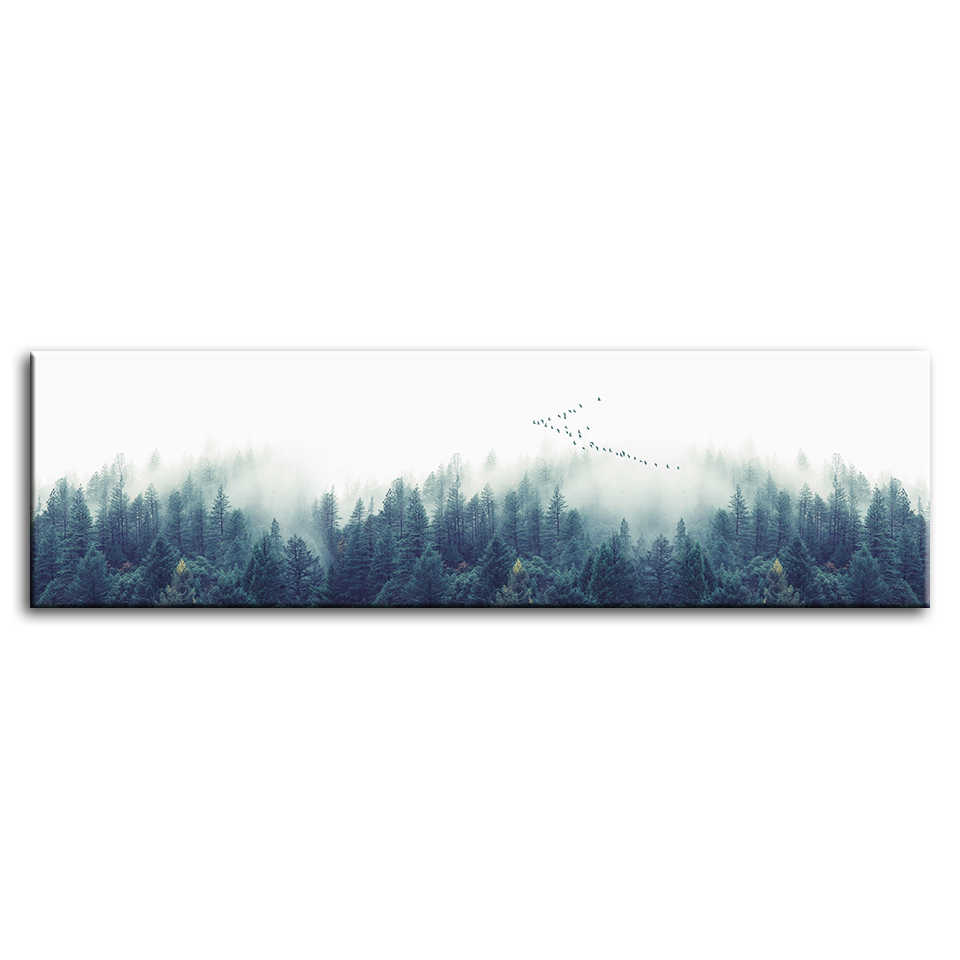 Modular Wall Art Prints Poster Calligraphy Vintage Style 1 Set Smoke Trees Home Decor Canvas Painting Pictures Room Decoration