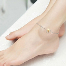 New Arrival Women's Elegant Silver Plated Little Daisy Charm Beach Bare Foot Anklet Jewelry