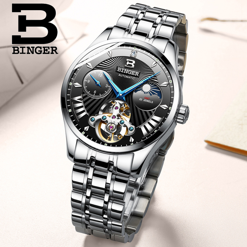 BINGER  Switzerland Top Brand Sports Tourbillon Mechanical Watch Luxury Mens Automatic Self wind Watches Steel Military ClockBINGER  Switzerland Top Brand Sports Tourbillon Mechanical Watch Luxury Mens Automatic Self wind Watches Steel Military Clock