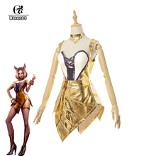 ROLECOS Game LOL Cosplay Costume Group K/DA Prestige Edition Ahri Golden Sexy Dress for Women