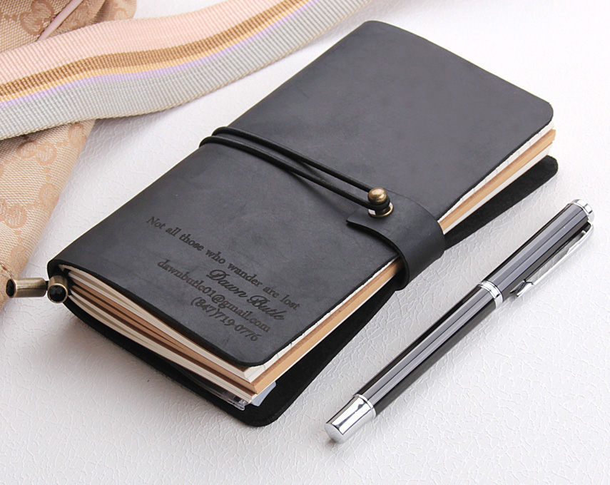 Leather Journal Notebook Custom, Handmade Vintage Refillable Travel Journal, Leather Traveler's Notebook Cover, Custom Text