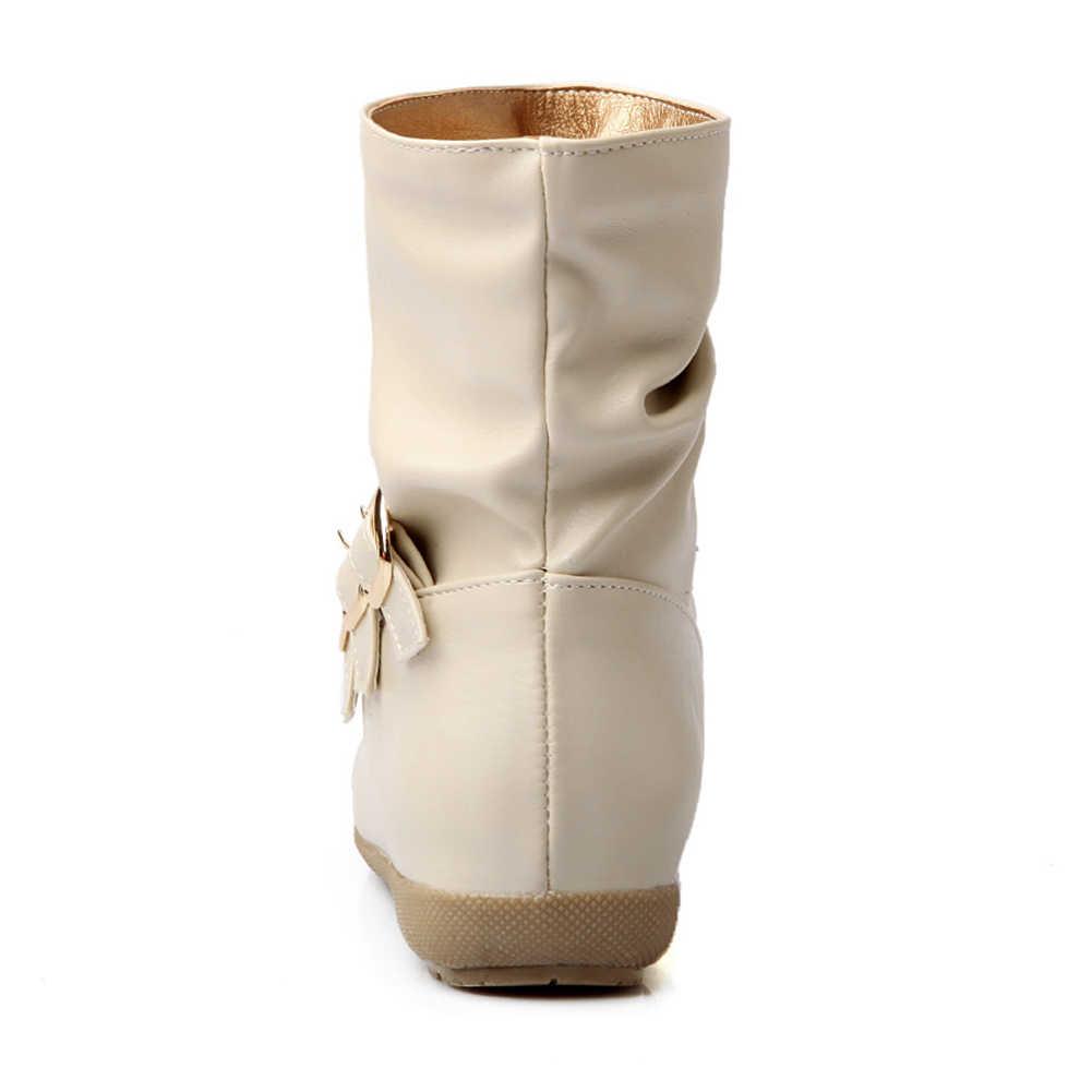 BONJOMARISA Popüler yarım çizmeler Bayanlar Için Toka Dekorasyon için 2 cm Düşük Topuklu Üzerinde Kayma Öğrencileri Bot Ayakkabı Kadın