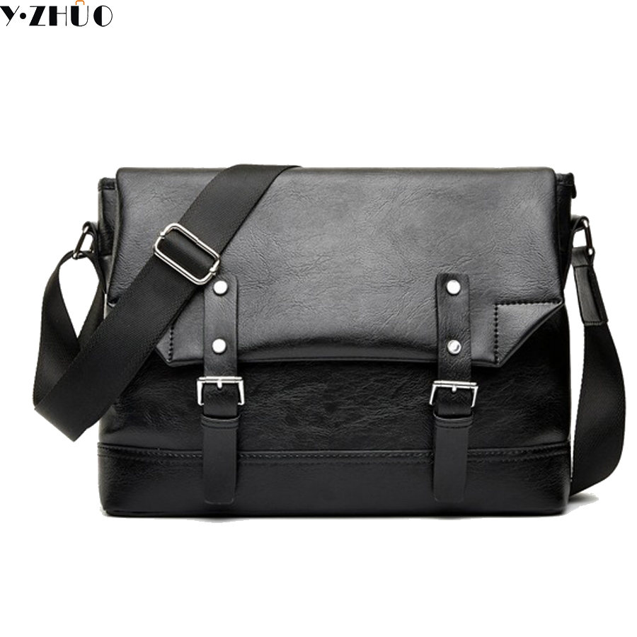 England Style leather men messenger bags cover men crossbody bags high quality black shoulder bag for male free shipping
