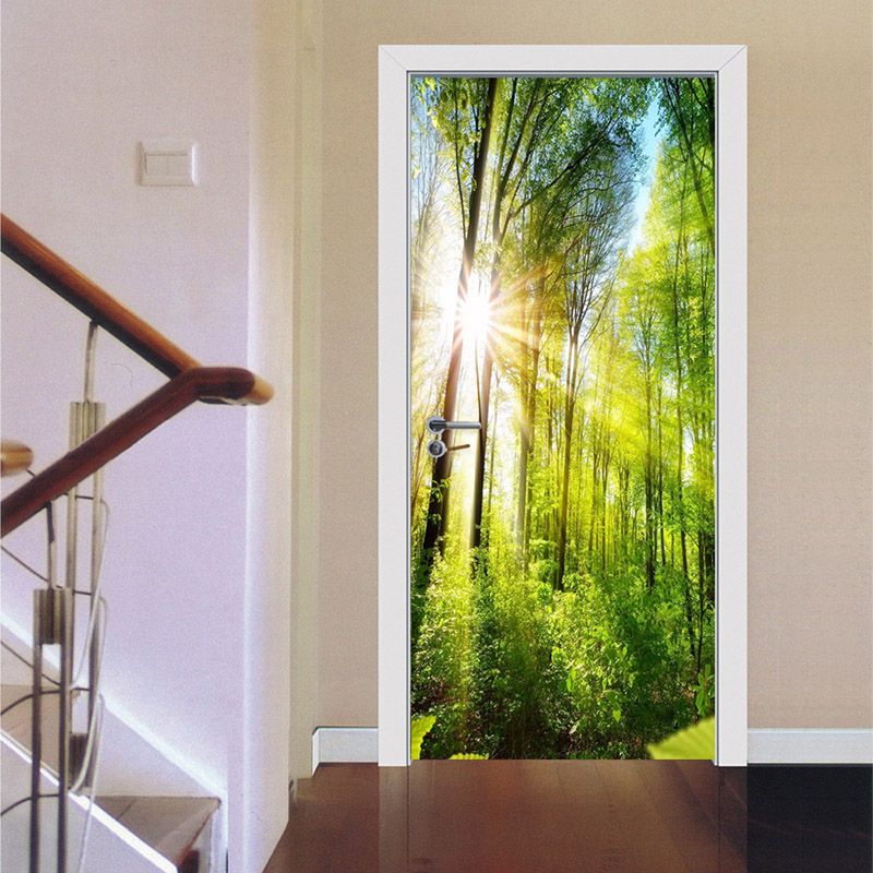 PVC Wallpaper 3D Beautiful Green Forest Sunshine Murals Living Room Hotel Door Sticker Modern Self Adhesive Waterproof Wallpaper