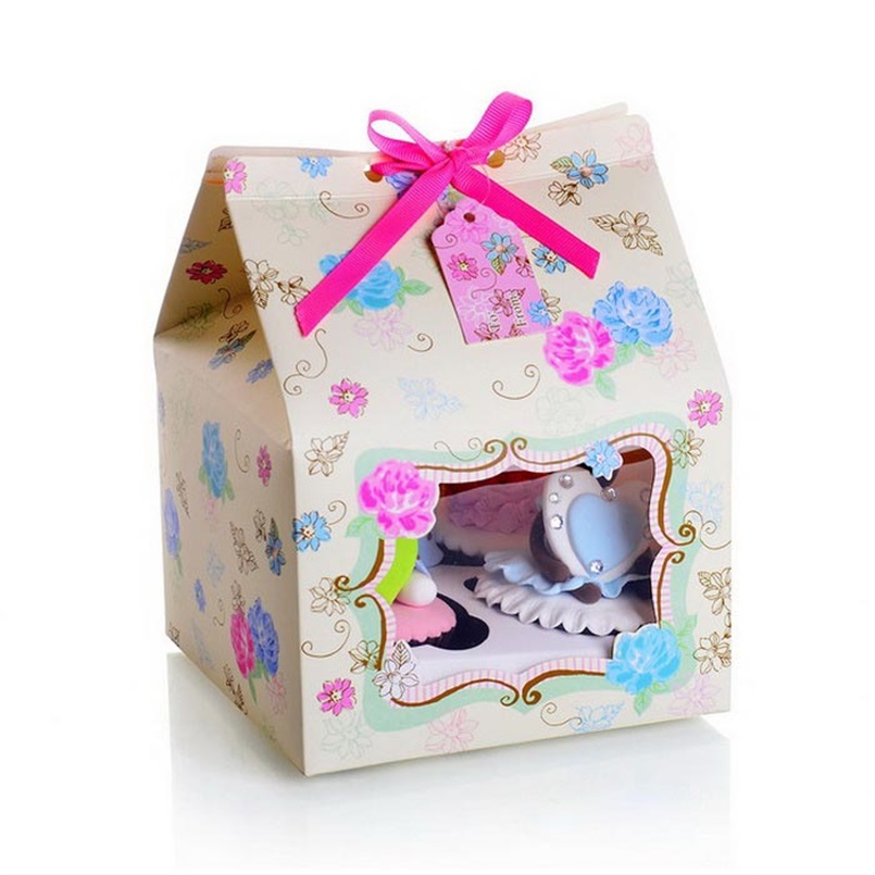 Cake Box House Design Pack of 4 Cupcake Boxes Card Gift Box Wedding Party Favors 15x15x20cm 100pcs