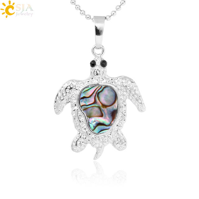CSJA New Zealand Natural Rainbow Abalone Oyster Shell Sea Turtle Shape Necklace Pendant Silver Color Charm Jewelry for Lady F290