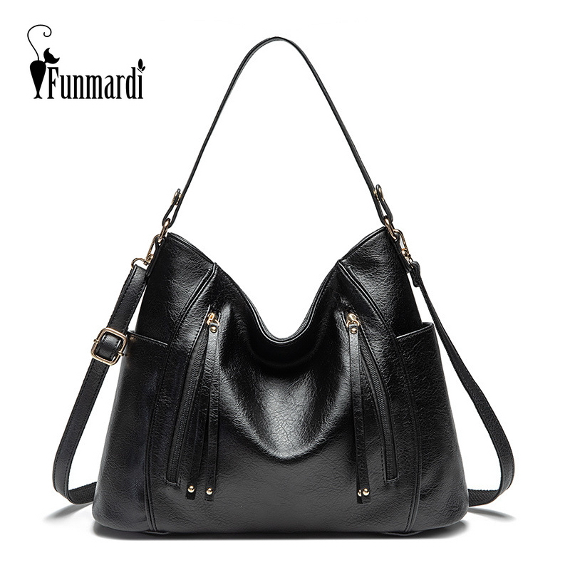 Funmardi Brand Designer Shoulder Bag Luxury Handbags Women Bag PU Leather Bag Hobo Vintage Tote Bag For Women Handbag WLHB3027