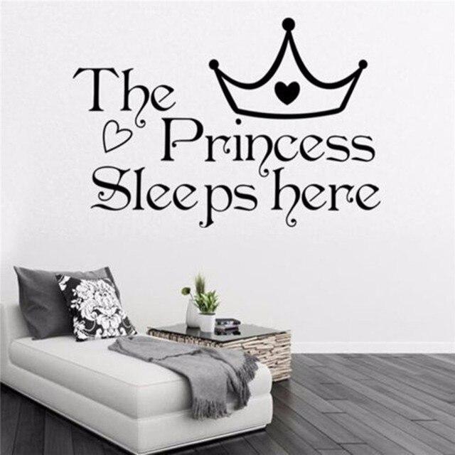 Princess Sleeps Citaat Muursticker Art Citaat Vinyl Slaapkamer ...