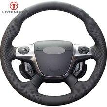 LQTENLEO черная крышка рулевого колеса из натуральной кожи для Ford Focus 3 2011- KUGA Escape 2013- C-MAX 2011- Transit