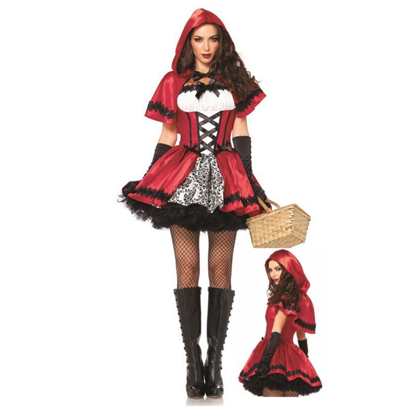 Halloween costumes adulte femmes sexy cosplay little red riding capot fantasy game uniformes fantaisie robe outfit