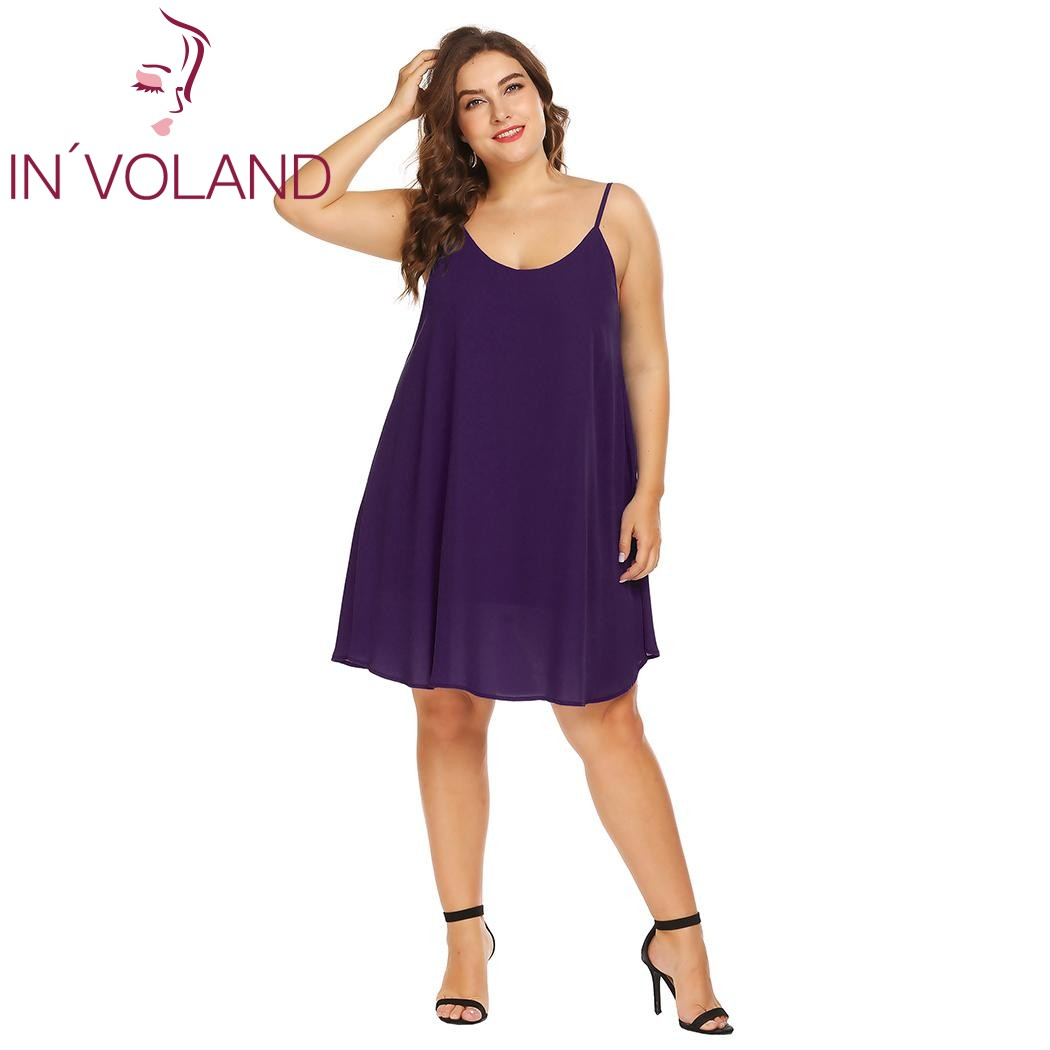 IN VOLAND Plus Size XL-5XL Women Dress Sexy Spaghetti Strap Solid Summer  Casual Loose Fit Swing Tank Dresses Vestidos Oversized 7ca1f764b41b
