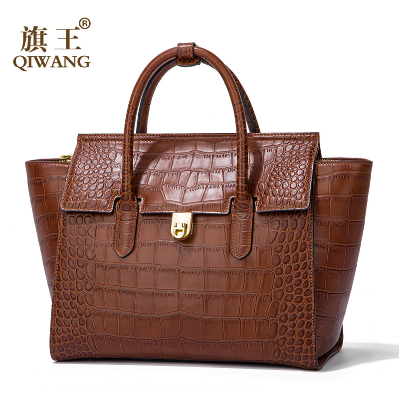 100% Genuine Leather Women Bag Fashion Crocodile Tote Bag Trapeze Fashion Female Luxury Handbag for Women crocodile retro women bag luxury women design fashion retro leather tote handbag solid bucket bag design fashion bags