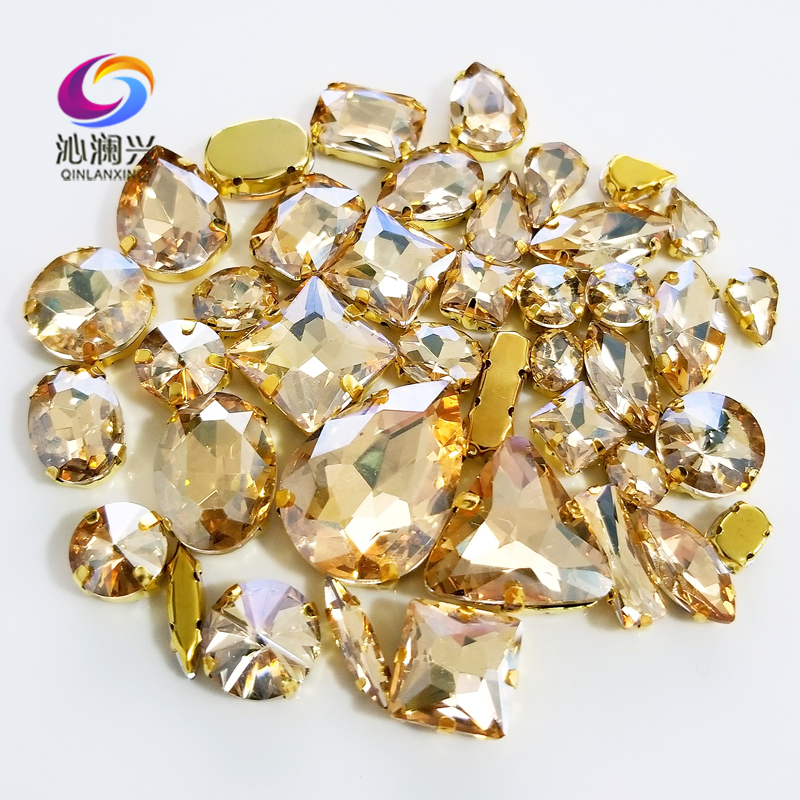 58pcs/pack Gold Base Champion Mix Shape Top Crystal Glass Sew On Stones,Super Flash Claw Rhinestone Diy/Clothing Accessories