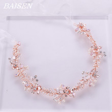 Rose Gold Flower Wedding Headband Bridal Hair Accessories Rhinestone Pearl Bride Head Band Headdress Women Accessories pearl and diamond headband rhinestone hair accessories flower hair bride jewel hair band black crystal ladies jewelled headband