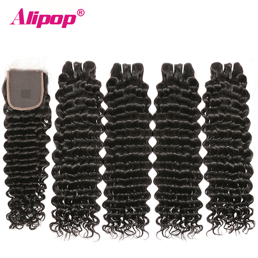 Peruvian Deep Wave Hair 4 Bundles With 4x4 Lace Closure Remy Human Hair Bundles With Closure