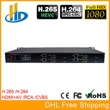 HEVC H.265 H.264 1U Rack 4 Channels HDMI + AV CVBS Video Encoder Transm