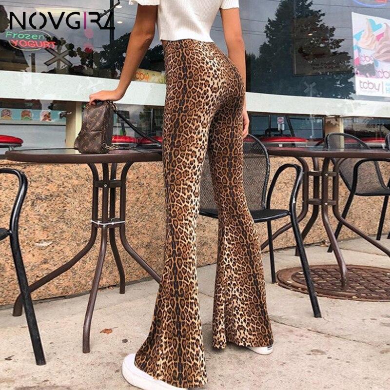 Novgirl Leopard Print Sexy   Wide     Leg     Pants   Women 2019 Summer High Waist Skinny Female Trousers Streetwear Bodycon Flare   Pants