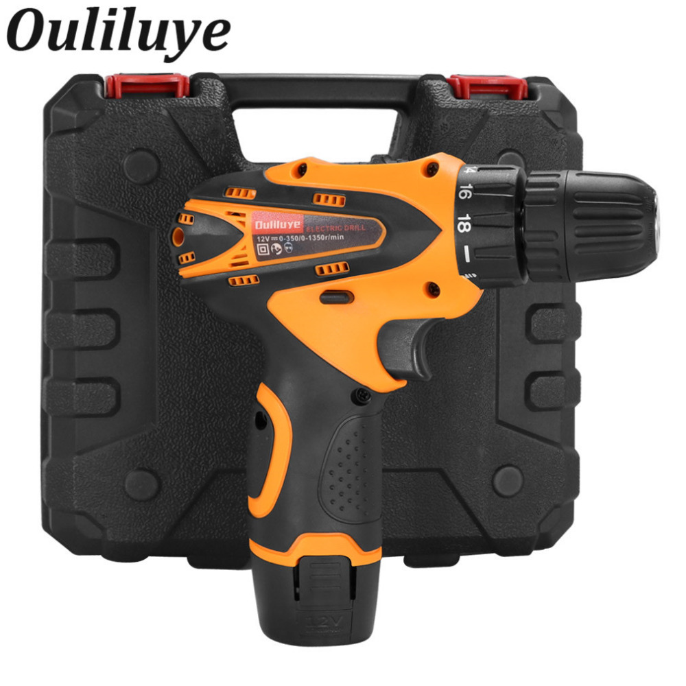 OULILUYE Power Tools Mini 12V Cordless Electric Screwdriver drills Rechargeable Screwdriver Lithuium Household Wireless Drill