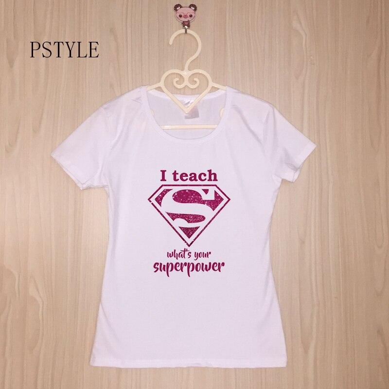 Casual   T     Shirts   Short Sleeve Graphic O-Neck Womens Super Teacher Funny Professor Tees   T  -  shirt   PSTYLE tshirt