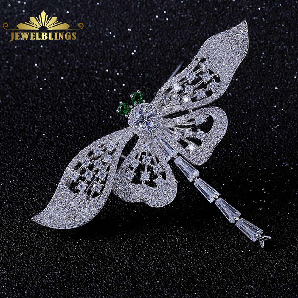 Nature Vintage Opens Green Eyes Flying Dragonfly Brooches Full Pave & Baguette Cut CZ Winged Dragonfly Pin Women Coat Jewelry