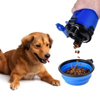 Dual-use Pet Food Water Bottle+Foldable Bowl Dog Portable Travel Bottle for Feeding Drinking Water Pets Outdoor Bottle Dispenser