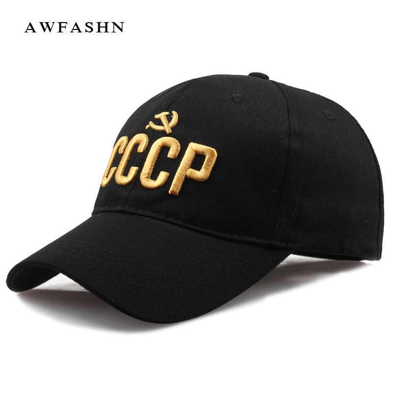 2018 Baru Uni Soviet Russiane Topi Surat Bordir Hip Hop Topi Pria Wanita Kualitas Tinggi Snapback Tulang Lencana Hitam Golf Olahraga kapas