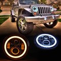 "Pair of  7 Inch Round Black Housing light 7""  LED Headlights Halo Angle Eyes withTurn Signal For 97-15 Wrangler JK TJ Defender"
