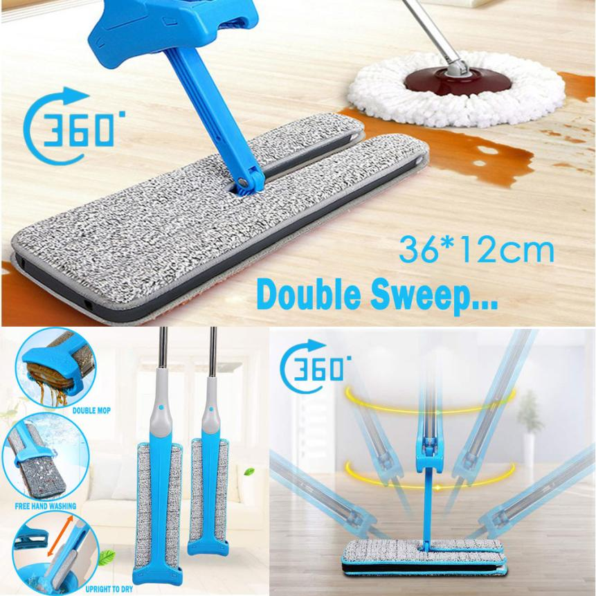 2018 NEW Double Sided Non Hand Washing Flat Mop Wooden Floor Mop Dust Push Mop Home Cleaning Tools