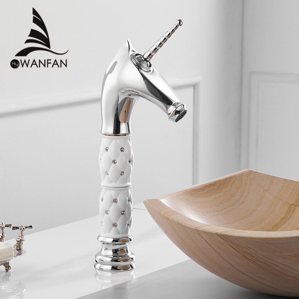 Basin Faucets Unique Fashion Bathroom Horse Head Faucet Chrome Brass Deck Mounted Single Long Handle Bath Basin Faucet 855756