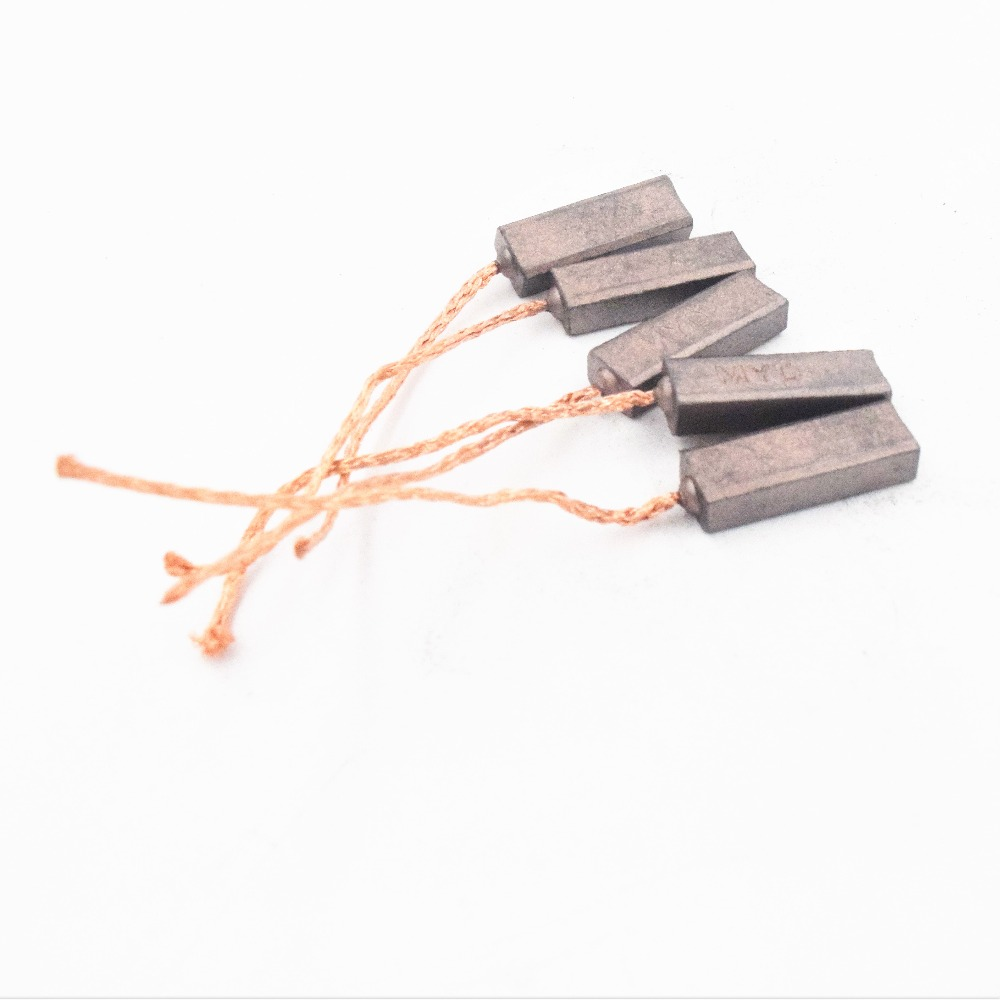 10pcs Conductive Copper Carbon Brushes Wire Leads 4.5*6.5*20mm For Generator Generic Electric Motor Durable Mini Carbon Brush