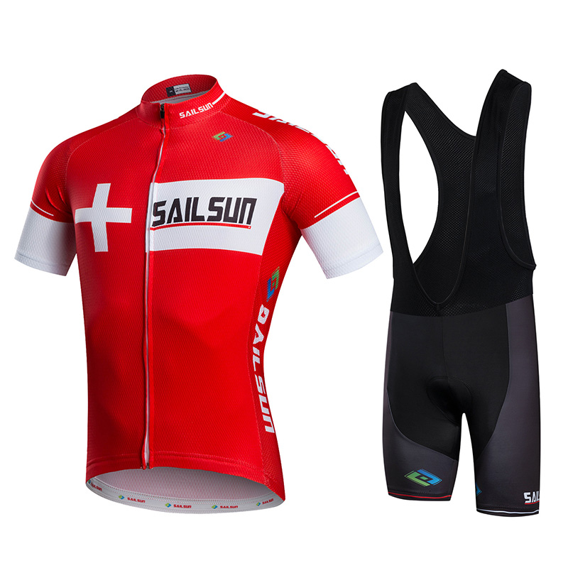 Hot Men Bike Jersey or Cycling Bib Shorts Red Black MTB Team Cycling Top Pro Bicycle Short Sleeve Clothing Breathable