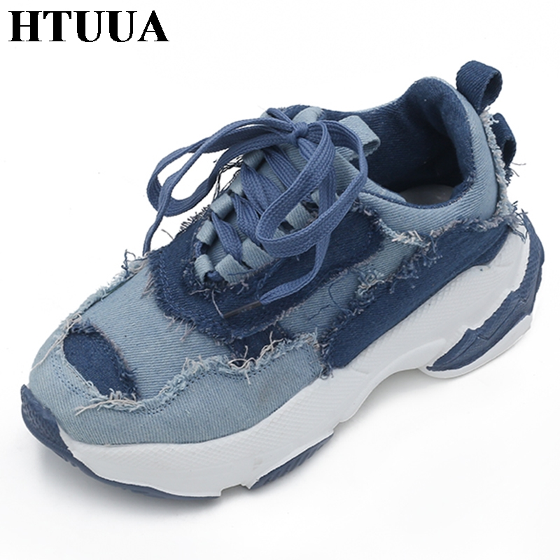 HTUUA 2018 Autumn Blue Denim Casual Shoes Women Creepers Platform Shoes Woman Sneakers Espadrilles Ladies Trainers femme SX1535 цена