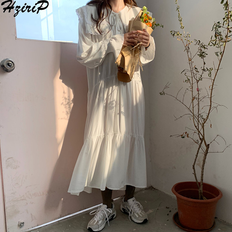 HziriP New Solid Women Aestheticism Loose Sweet Lace 2019 Spring Autumn Fashion Simple Ruffles Slim Preppy Style 2 Colors